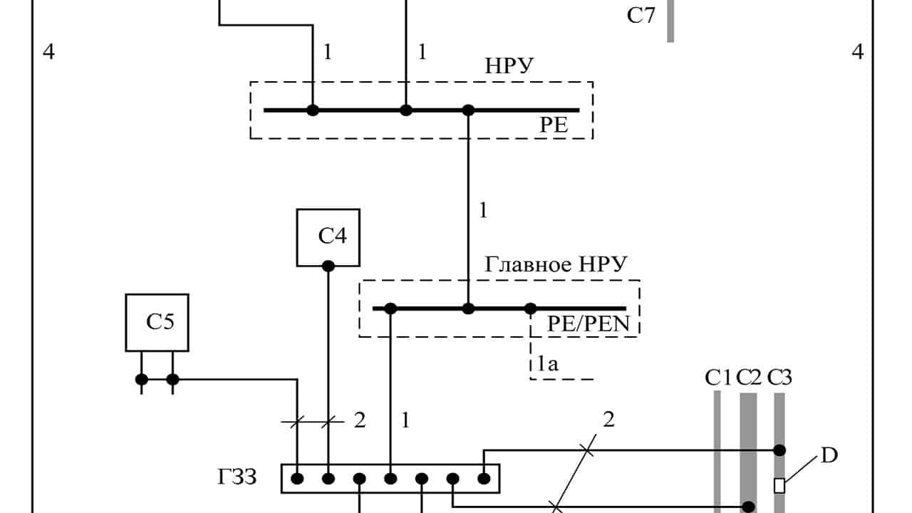 Пример схемы с защитным заземляющим проводником