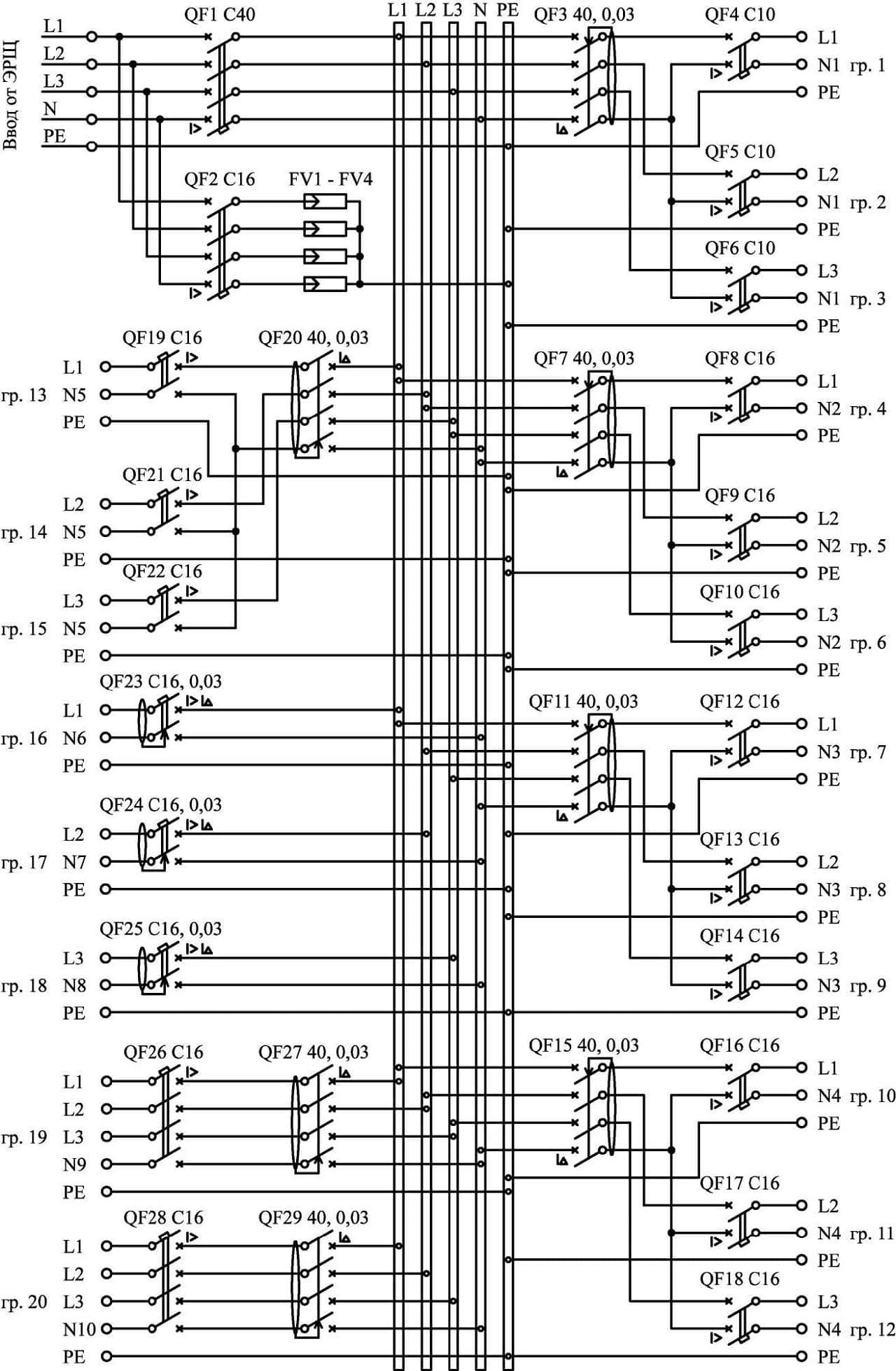 Принципиальная схема трехфазного квартирного щитка
