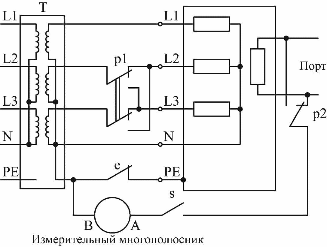 Испытательная цепь для тока прикосновения трехфазного оборудования в системе TN или TT с источником питания, соединенным звездой