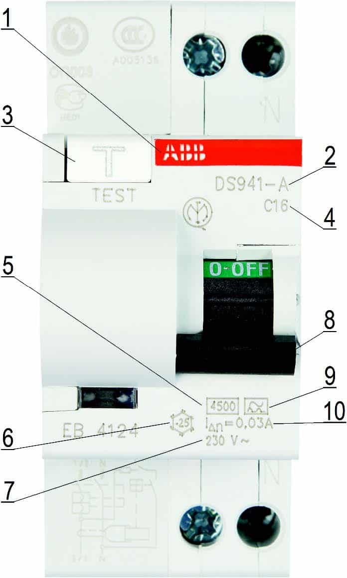 Маркировка двухполюсного АВДТ серии DS 941