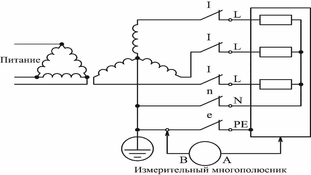 Трехфазное оборудование в системе TN или TT с источником питания, соединенным звездой