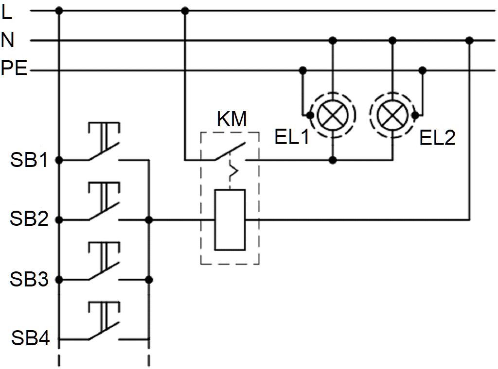 Управление светильниками из нескольких точек с помощью выключателя с дистанционным управлением