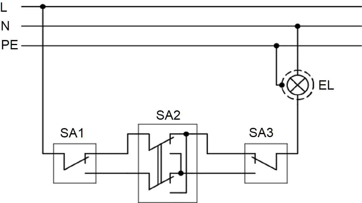 Управление светильником из трёх точек